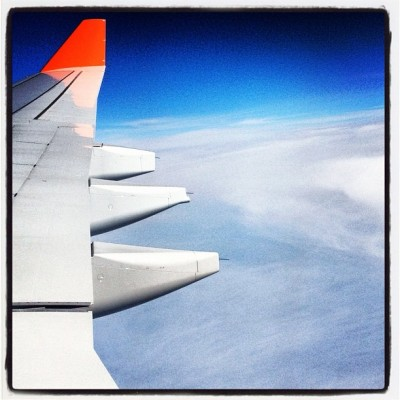 Airplane Wing Blue Sky Over Russia