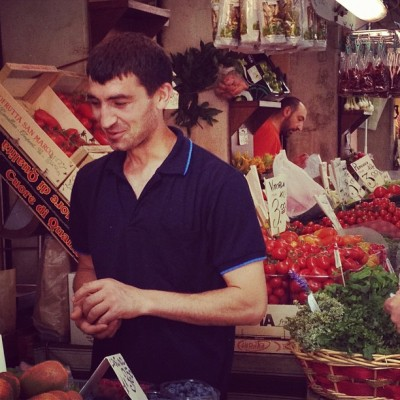 Vegetable Vendor, Rialto Market, Venice, by Charlie Grosso