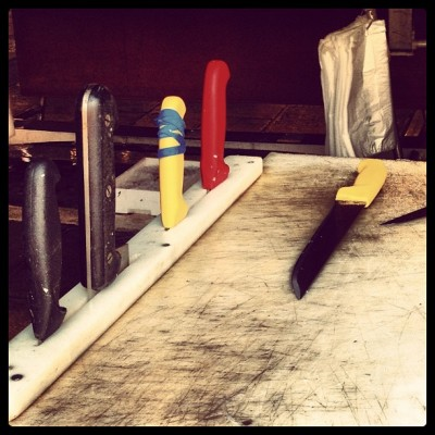 Knives and Cutting Board, Rialto Market, Venice, by Charlie Grosso
