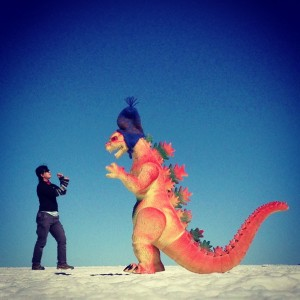 Salar di Uyuni. In Clothing Art Pants fighitng the Gazilla.by Charlie Grosso